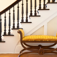 Victorian staircase leading to the second story of this Bed and Breakfast luxury inn in Hudson, NY.